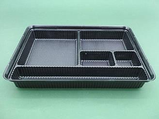 Упаковка для суши с делениями ПС-610ДЧ 27,5*19,5*40см  50 шт/уп