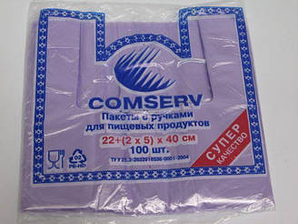 Пакет полиэтиленовый Майка 22см 40см Сomserv 100шт (1 пач)