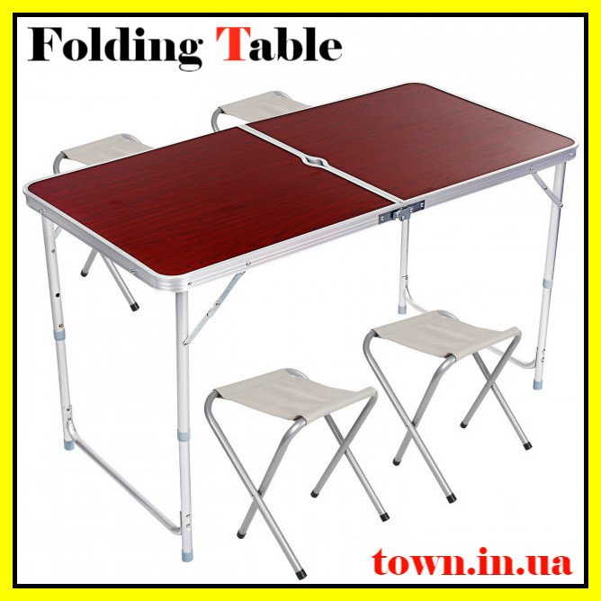 Стол туристический складной, для пикника,  для рыбалки+ 4 стула 120*60*70 Коричневый Folding Table