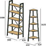 Стеллаж 5 полок Loft Металл-Дизайн. Серия Призма, фото 3
