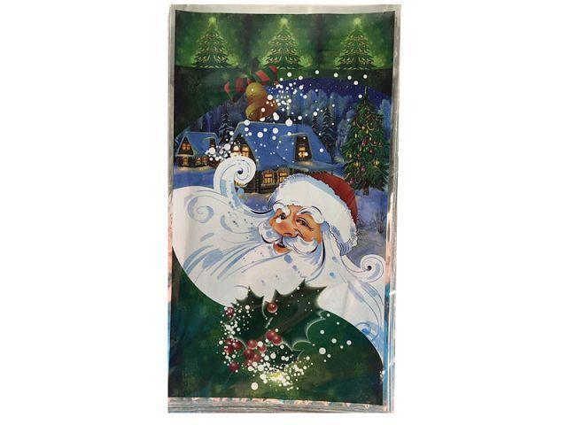 Фольгированный пакет для конфет 20см 35см  Дед Мороз на зелёном 100шт