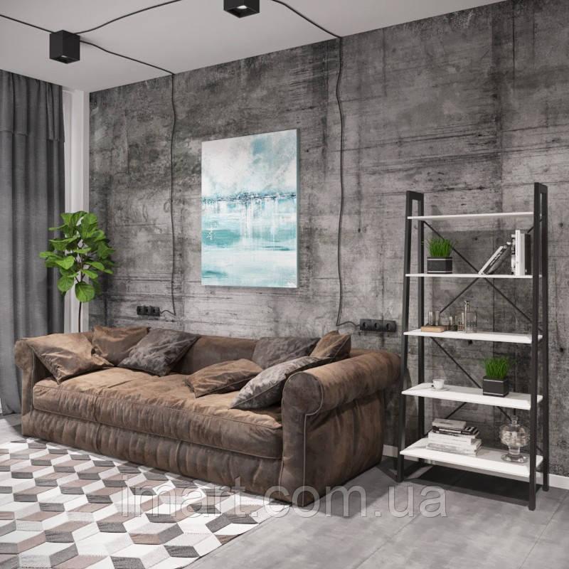 Стеллаж 5 полок Loft Металл-Дизайн. Серия Призма