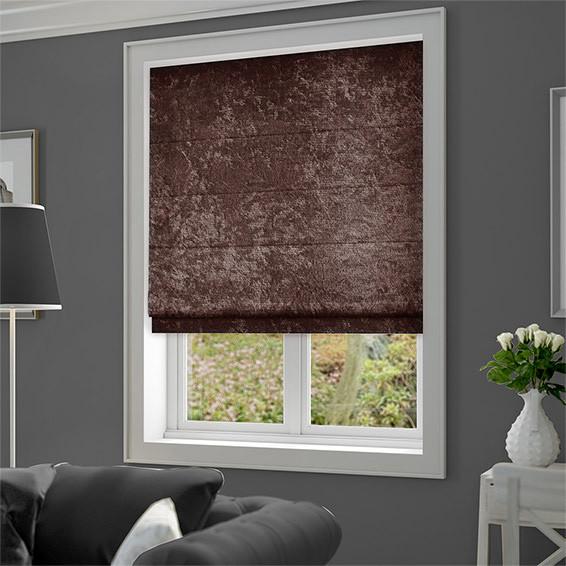 Римская штора Велюр Люкс шоколадный коричневый. Бесплатная доставка