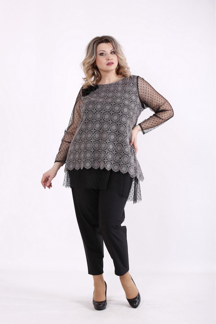 01429-1 | Сіра блузка ошатна великого розміру