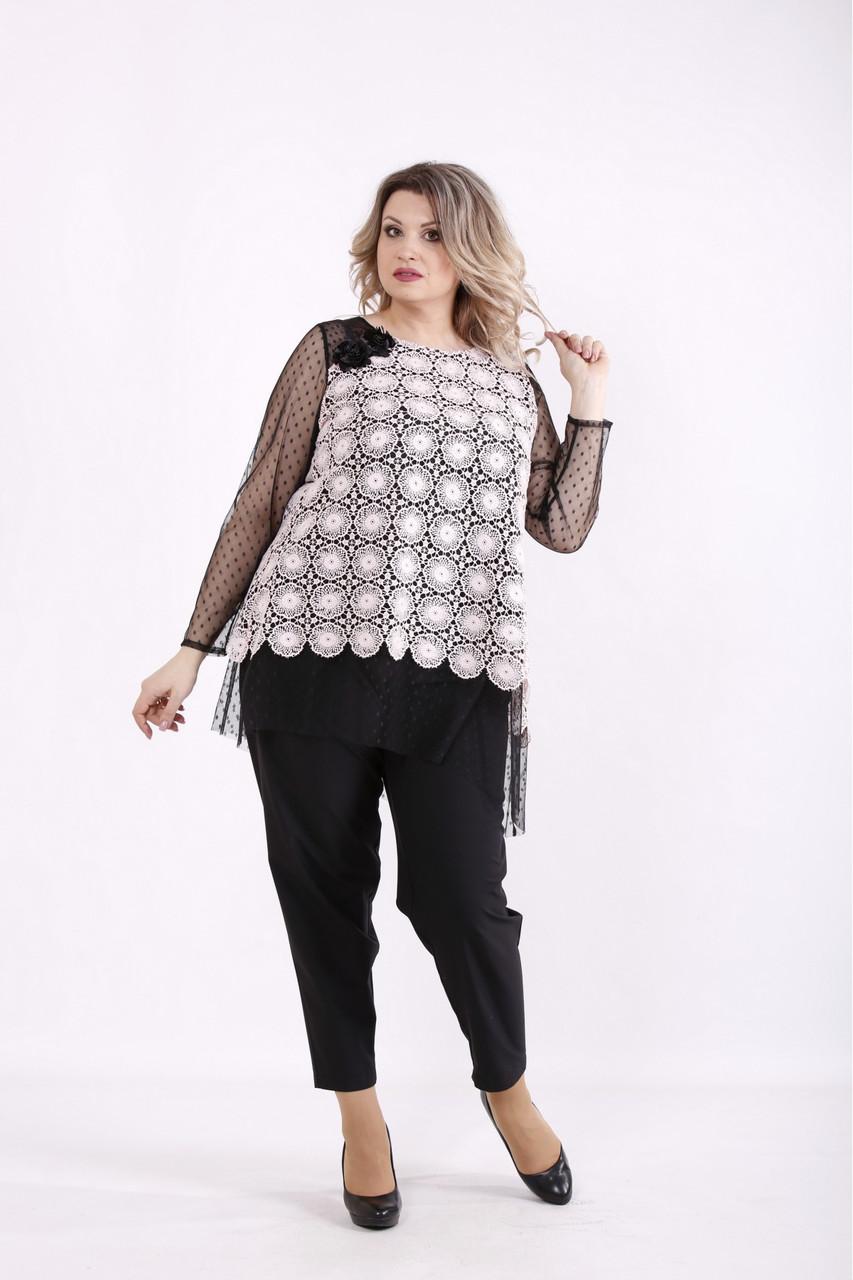 01429-2   Пудровая блузка нарядная большого размера
