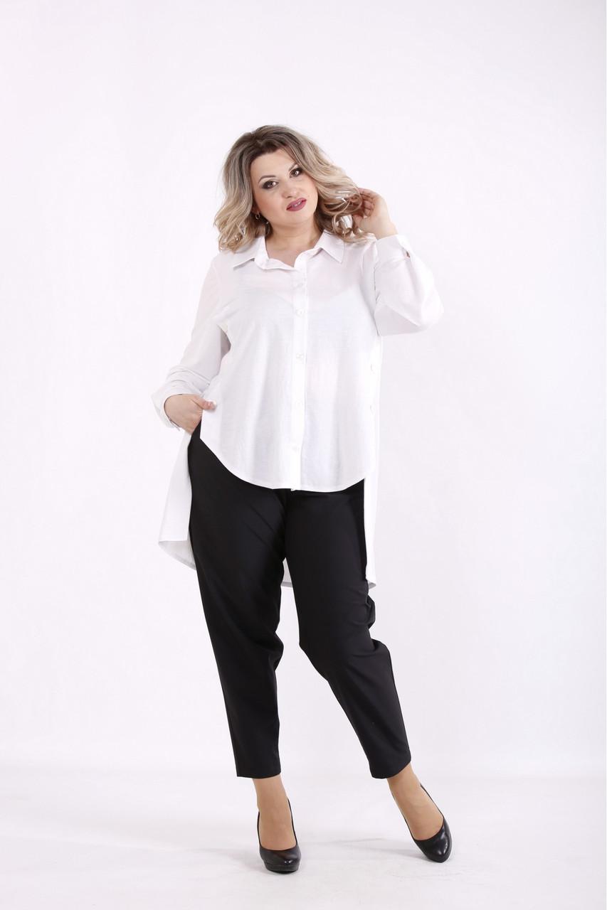 01449-1 | Біла блузка з довгим спинкою великого розміру