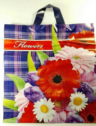 """Пакет с петлевой ручкой тип Диор """"Цветы А-ля классика"""" 38см 42см 90мк (50 шт)"""