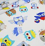 """Хлопковая ткань (бязь) 160см №658 """"Совы в наушниках"""" серо-голубой фон"""