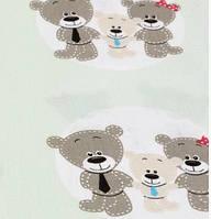 """Хлопковая ткань (бязь) 160см №1546а """"Три медведя в кружоках"""" на серо-мятном фоне"""