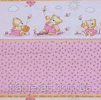 """Хлопковая ткань (бязь) 160см № К006р """"Мишки с медом"""" розовый"""