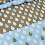 """Хлопковая ткань (бязь) 160см №690а """"Капельки на полосах"""" в голубом цвете"""