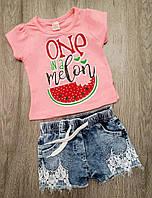 Детский летний костюм (футболка и джинсовые шортики) для девочки размер 80 на 1 года Турция