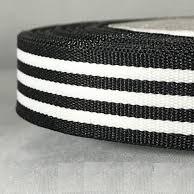 Лампас лента отделочная черно белые полоски 15 мм