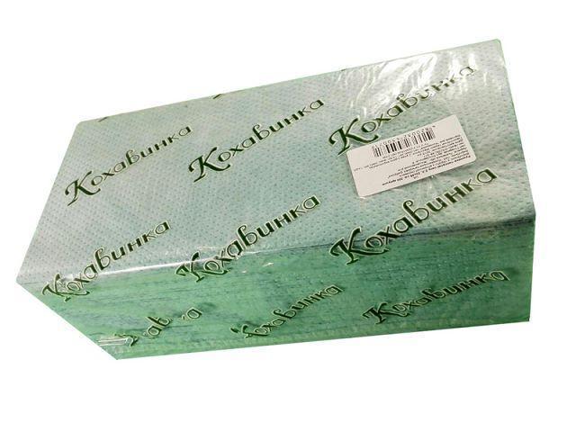Бумажное полотенце ZZ зеленое 200 листов Каховинка