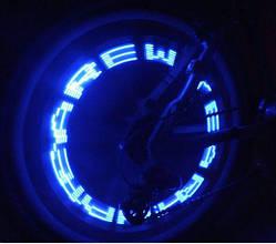 Колпачок 7 LED RGB +слова +рисунок велосипедный вело мигалка ниппель