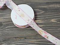 Лента тканная с цветками 2,5 см *90 см. розовый, фото 1