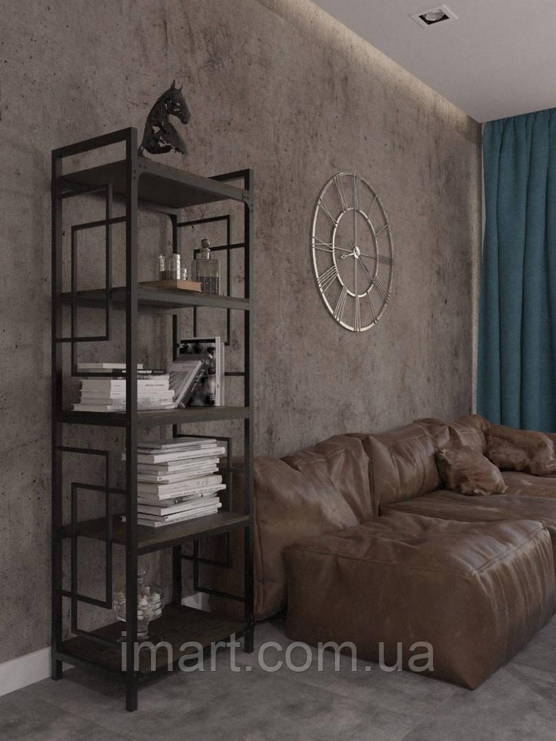 Стеллаж 5 полок Loft Металл-Дизайн. Серия Квадро