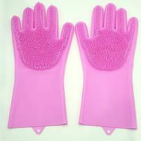 Силіконові рукавички багатофункціональні щітка для чищення і миття посуду Silicone Magic Gloves рожеві