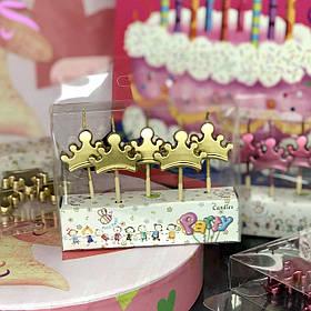 "Свічки в торт хром ""Корона"", 5 шт, золото, Набор свечей в торт ""Корона"""