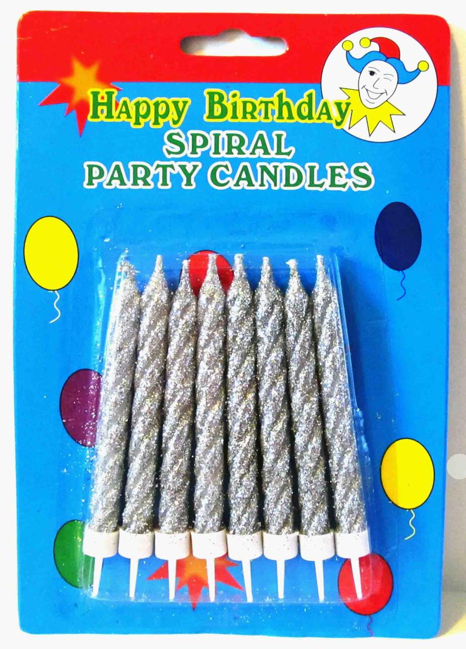 """Свічки в торт """"Блискітки"""", 8 шт, срібні, Набор свечей в торт """"Блестки"""""""