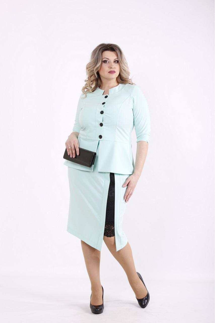| Мятный костюм: блузка и юбка большого размера  01430-1