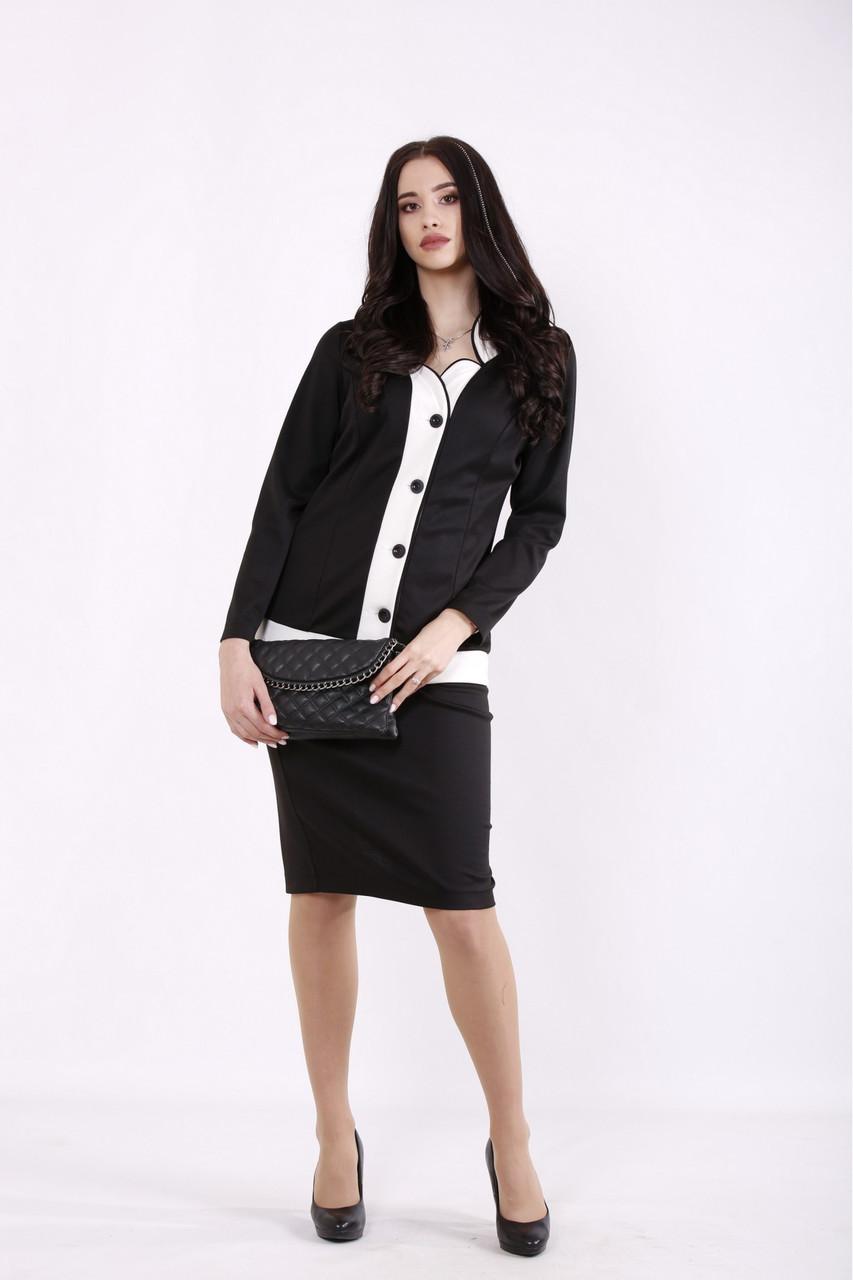01431-1 | Чорний костюм: блузка і спідниця женкий великого розміру