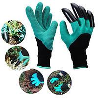 Садовые перчатки грабли плотные водонепроницаемые с когтями для рыхления Garden Genie Gloves
