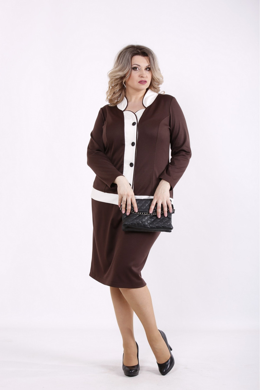 01431-3   Шоколадний спідничні діловий костюм: блузка і спідниця женкий великого розміру