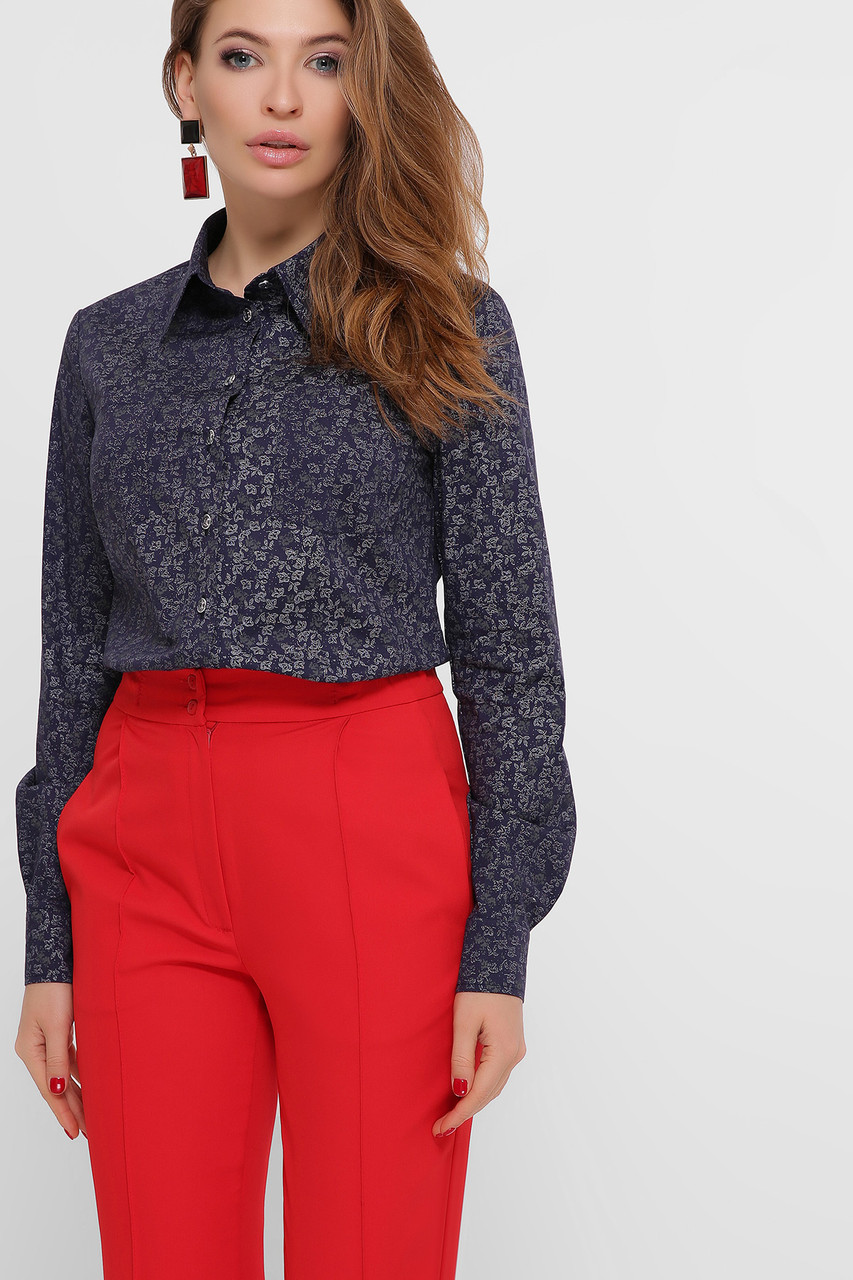 Повседневная женская рубашка с длинным рукавом и воротником стойкой синий-белые цветочки