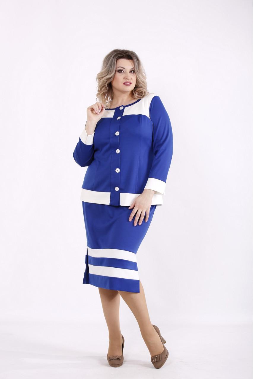 Электрик юбочный офисный  костюм: блузка и юбка женский большого размера  01432-3