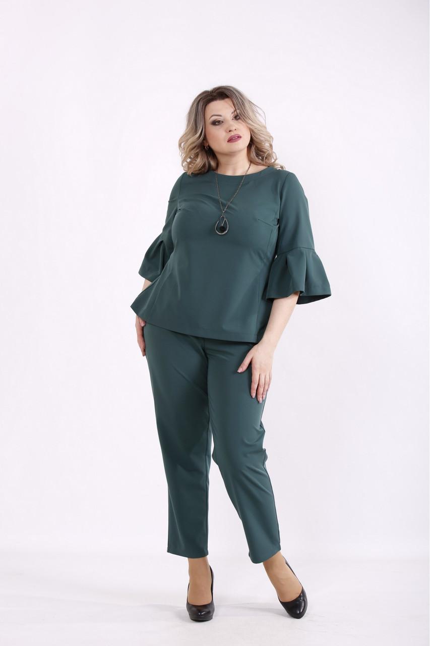 01437-1   Темно-зелений комплект: блуза і брюки женкий великого розміру