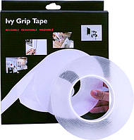 Многоразовая крепежная лента гелиевая на любые поверхности UKC Ivy Grip Tape 1 м прозрачная