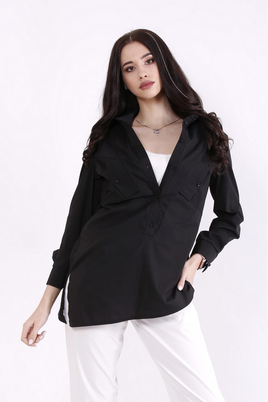 01448-1   Комплект: майка молоко и черная блузка большого размера