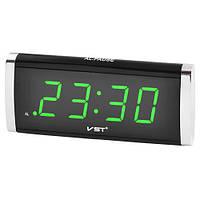 Настільні годинники будильник мережеві з зеленою підсвіткою VST 730