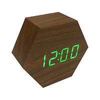 Годинники електронні LED настільні будильник під дерево WOODEN CLOCK VST-876 коричневі з зеленою підсвіткою