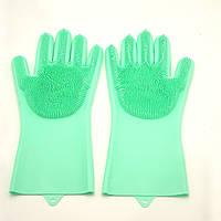 Силіконові рукавички багатофункціональні щітка для чищення і миття посуду Silicone Magic Gloves зелені