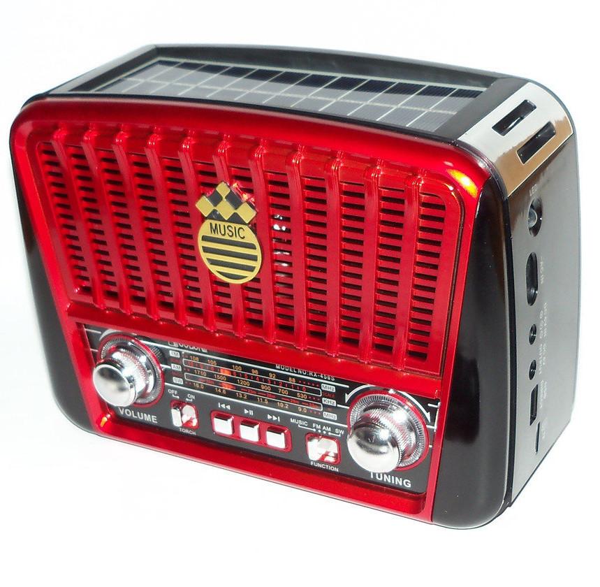 Портативная колонка аккумуляторная 3-х волновый радиоприёмник с солнечное панелью MP3 USB Golon RX-455S Solar