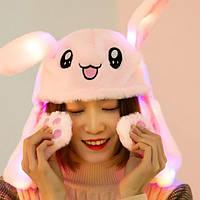 Шапка светящаяся с двигающимися ушами заяц кигуруми Кролик розово-белый