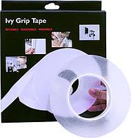 Многоразовая крепежная лента гелиевая на любые поверхности UKC Ivy Grip Tape 5 м прозрачная
