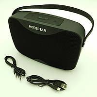 Бездротова акумуляторна колонка Bluetooth акустика FM MP3 AUX USB Hopestar H35 чорна