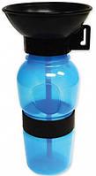 Дорожная поилка для собак прогулочная бутылка с чашей 500 мл Aqua Dog синяя