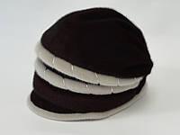 Женская шапка зимняя Две косы бордо