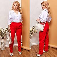 Батальные вельветовые брюки с карманами