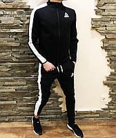 Спортивный костюм мужской черный с белыми лампасами Reebok