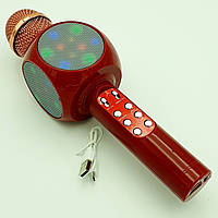 Беспроводной микрофон Караоке с динамиком и цветомузыкой USB AUX Ukc WS-1816 в коробке Красный