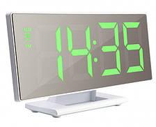 Дзеркальні електронні LED годинник настільні з зеленим підсвічуванням і термометром UKC DS-3618L білий