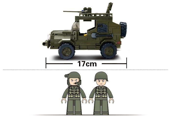 Конструктор SLUBAN M38-B0299 армія, військова машина, фігурки, 221 дет., кор., 29-24-5,5 см