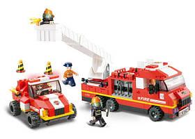 Конструктор SLUBAN M38-B0223 пожежники, транспорт, фігурки, 368 дет., кор, 42,5-33-6,5 см.