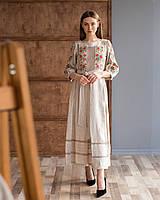 Жіноча лляна сукня з вишивкою Роксолана сіра