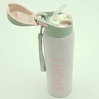 Пляшка термос для води напоїв з трубочкою поїлкою спортивна сталева 500 мл SPORT рожева
